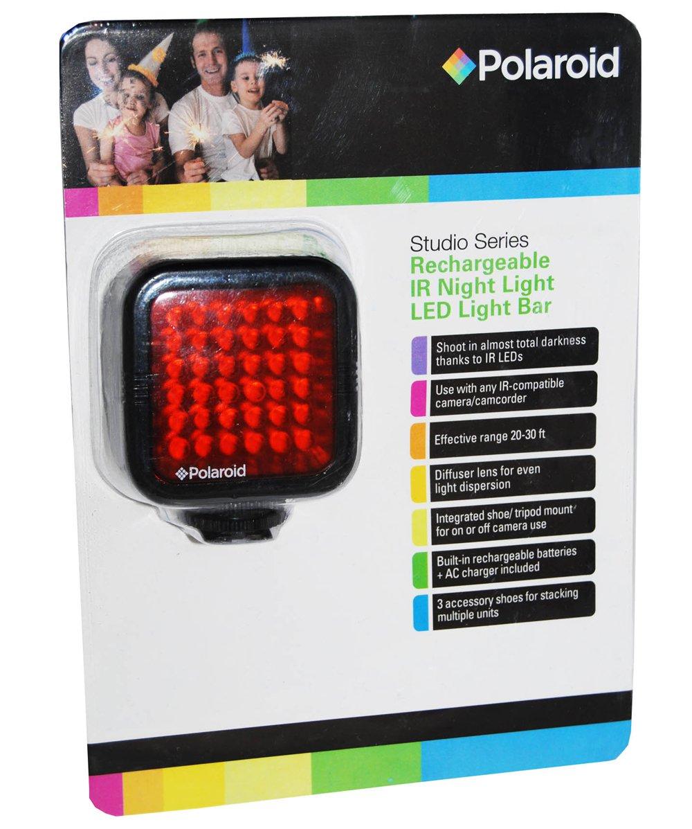 Polaroid Studio Series Rechargeable IR Night Light 36 LED Light Bar For Camcorders, Digital Cameras & SLR's