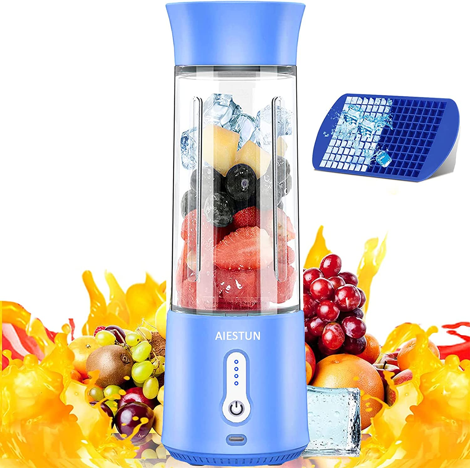 Portable Blender for Shakes and Smoothies, Personal Blender AIESTUN 17 Oz Mini Blender Type-C 4000mAh Rechargeable Six Blades with Ice Tray Small Blender Sports Travel Gym Juicers