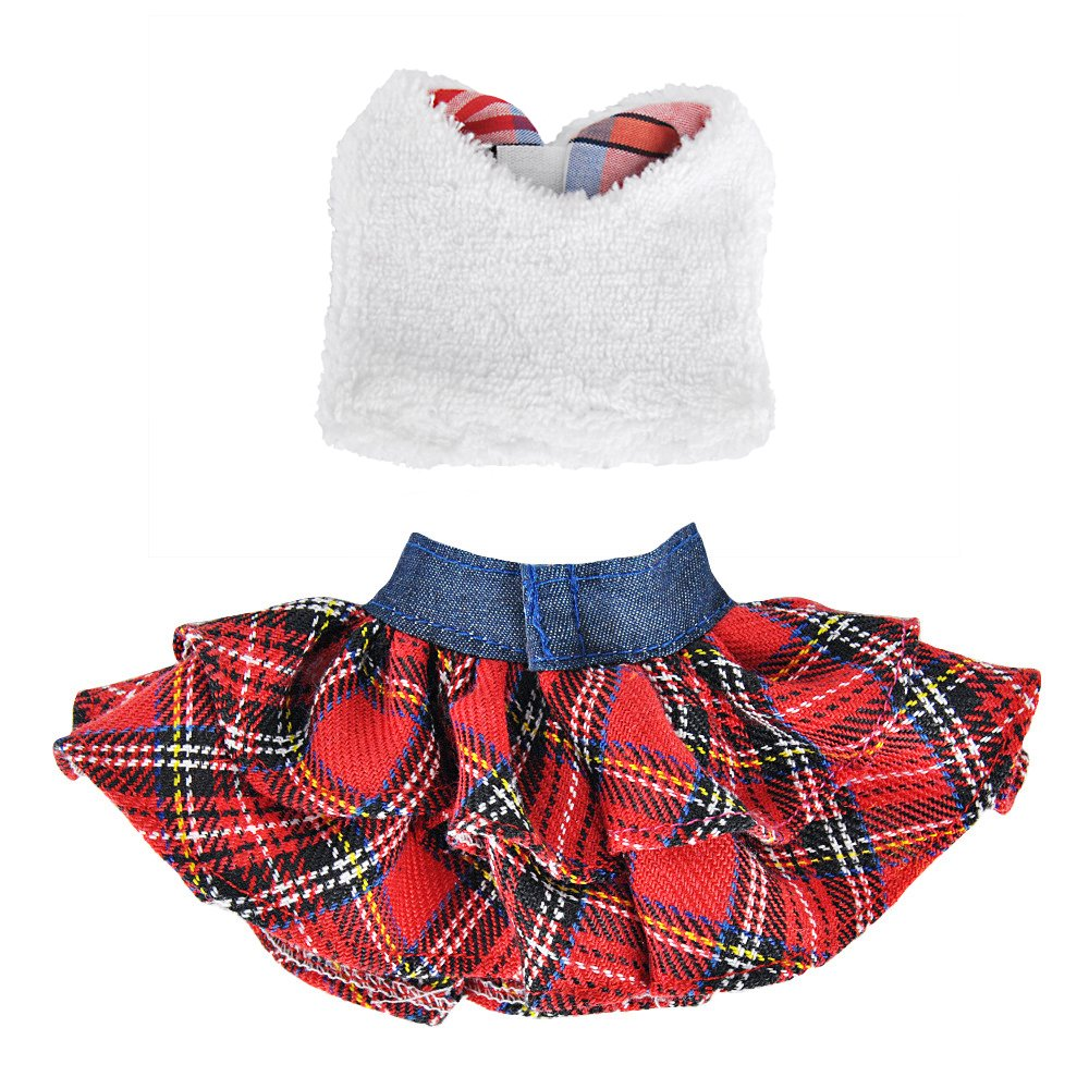 E-TING Santa Couture Clothing for Elf(Fluffy Vest+ Plaid Skirt) Doll is not included