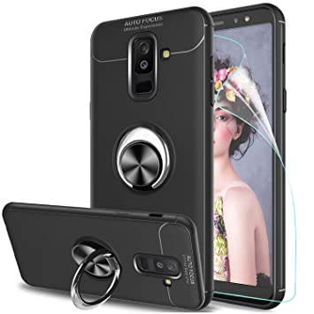 LeYi Funda Samsung Galaxy A6 Plus 2018 con Anillo Soporte, 360 Ring Grip Gel TPU de Silicona Bumper Case Carcasa para Galaxy A6 Plus 2018 con HD ...