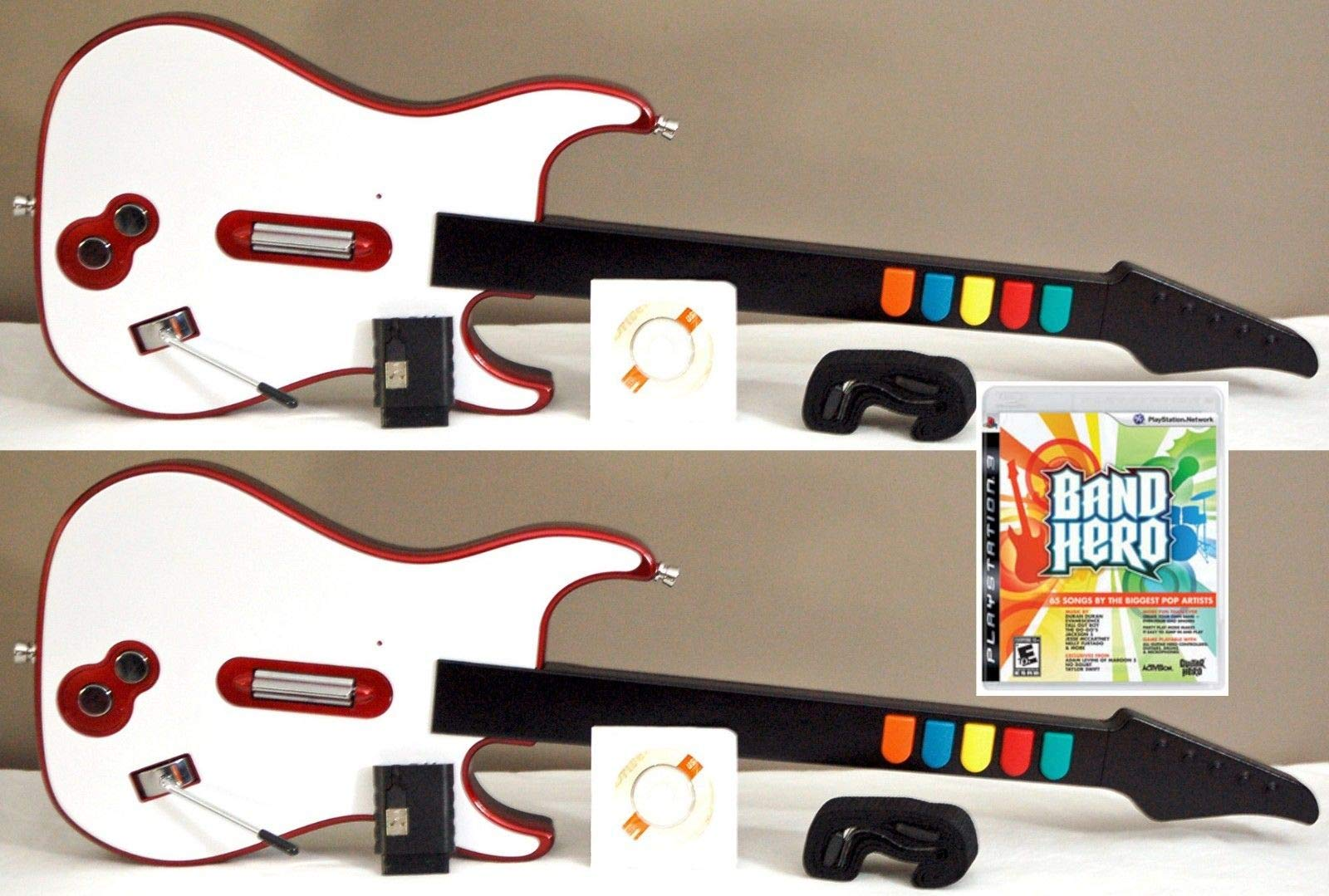 2 NEW WIRELESS Double Guitar Hero Game Controllers + NEW PS3 Band Hero Video Game Rock Band Music Bundle by Loot Hive (Image #1)