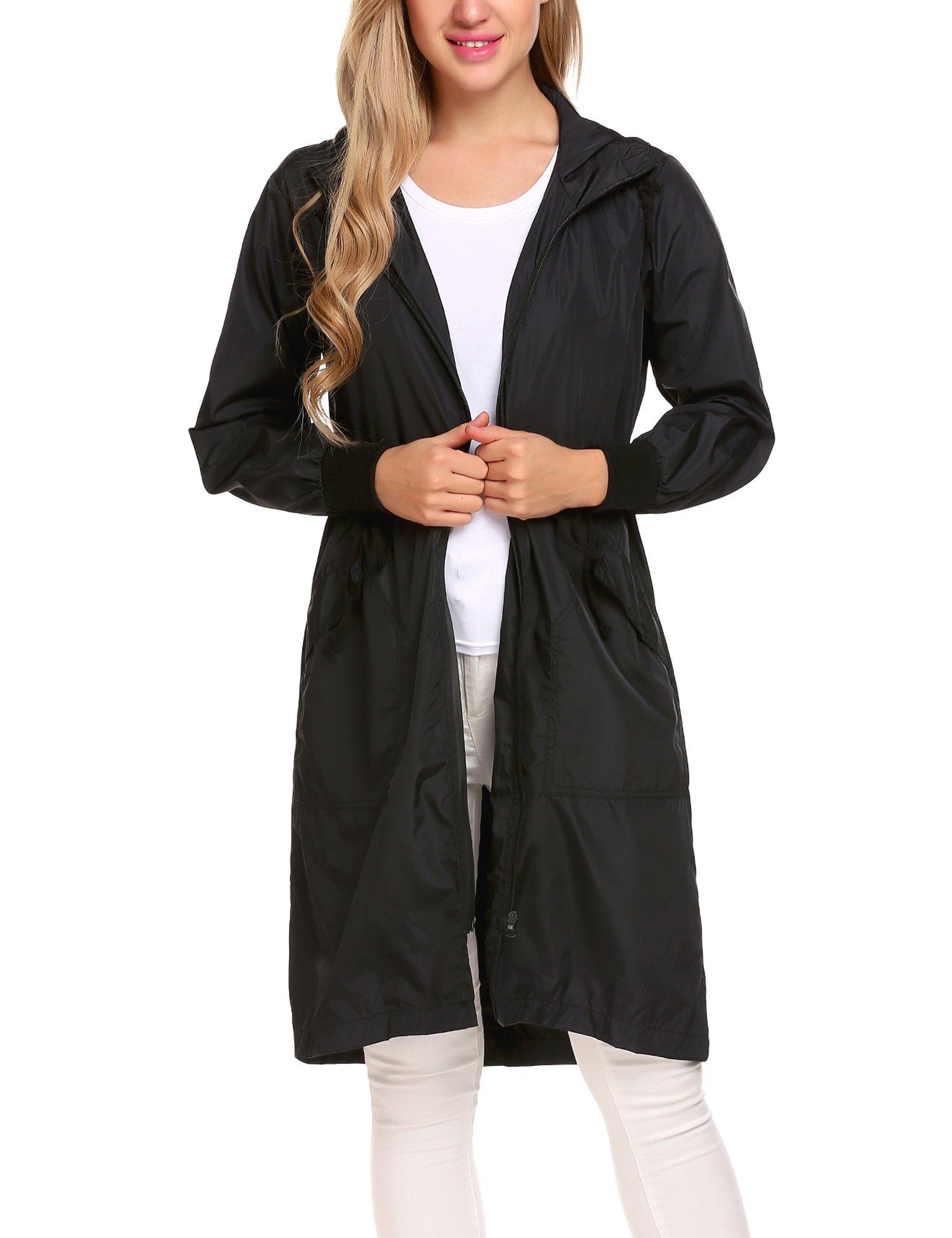 Zeagoo Women's Waterproof Front-Zip Lightweight Hoodie Hiking Cycling Outdoor Raincoat Active Jacket,Black,XXL by Zeagoo (Image #3)