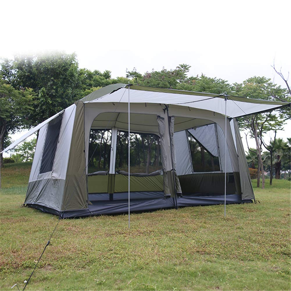 Zelt, Outdoor Two-Bedroom OverGrößed Zelte Four Doors Double Layer Large Family Party Camping Tent(305  420  230cm)