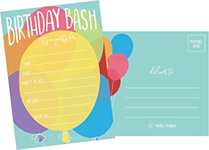 25 Balloon Rainbow Party Invitations For Kids Teens Adults Boys Girls Blank Children Happy 1st Birthday Invitation Cards Unique Baby First Bday