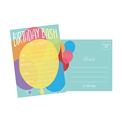 Amazon 25 Balloon Rainbow Party Invitations For Kids Teens