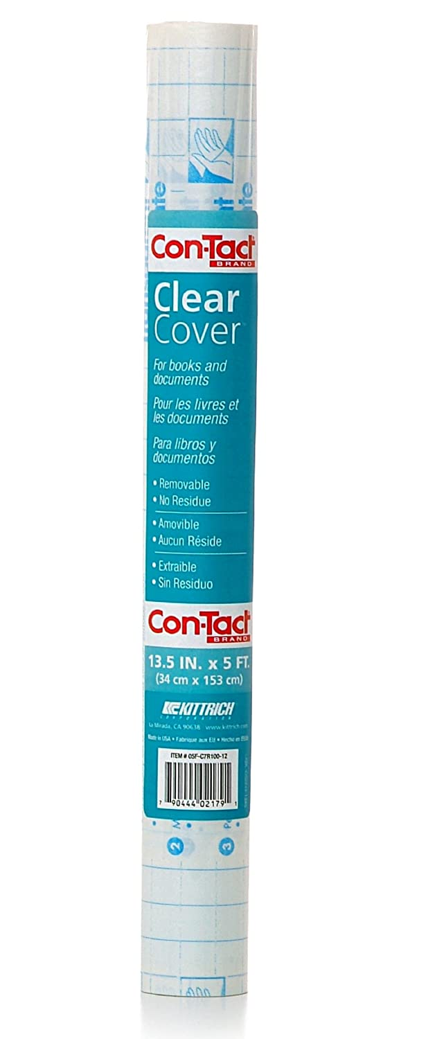 Con-Tact 05F-C7R100-12 Brand Clear Adhesive Protective Liner Covering for Books and Documents, 13.5-Inches x 5-Feet