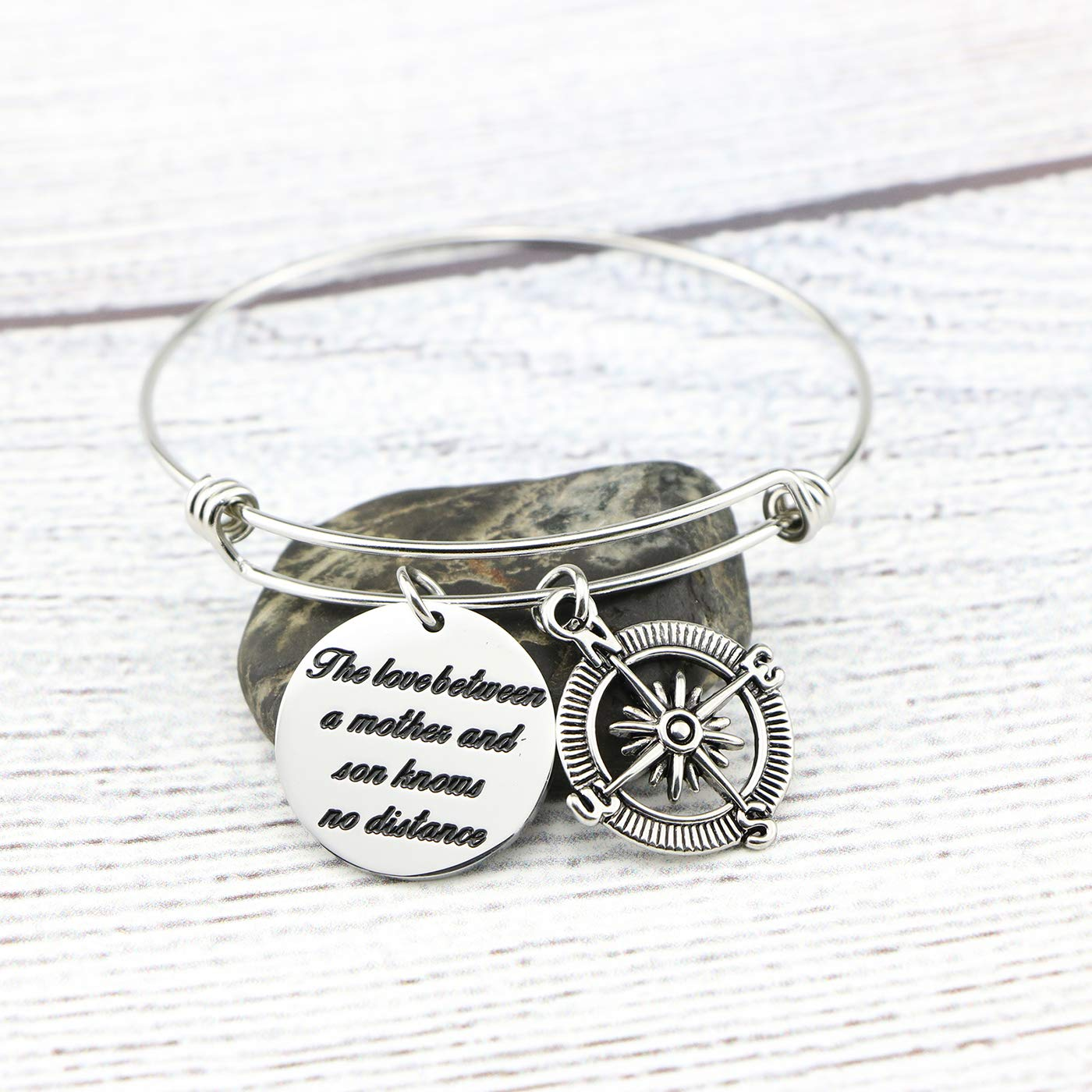 Memgift Gift for Mother Stainless Steel Bracelet The Love Between a Mother and Son Knows No Distance by Memgift (Image #2)
