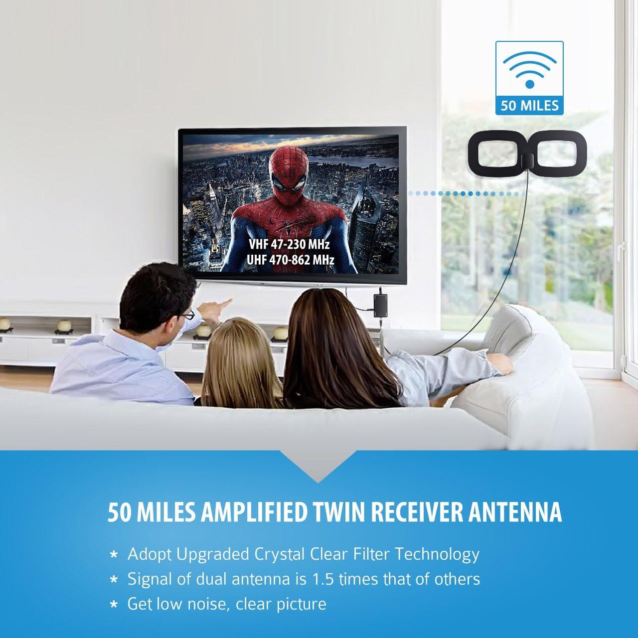 50 Miles Range Amplifier Dual Vertical TV Antenna for ATSC//DVB-T//DVB-2//ISDB Serounder HDTV Antenna