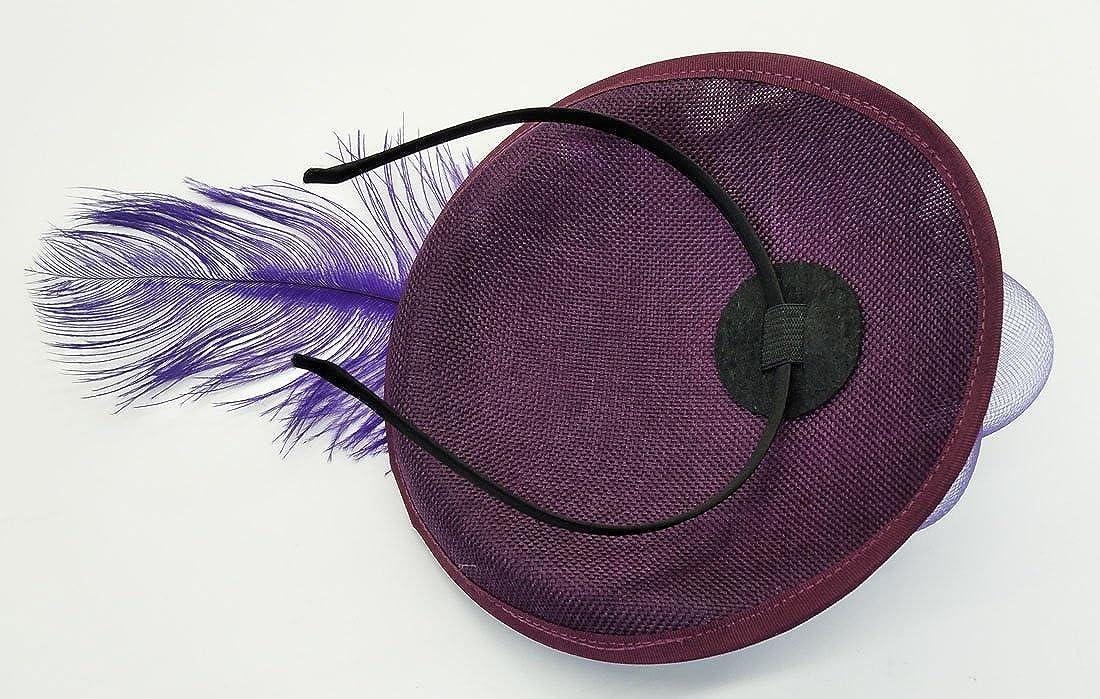 Flywife Sinamay Chapeau de Bibi /à Plumes Motif Floral
