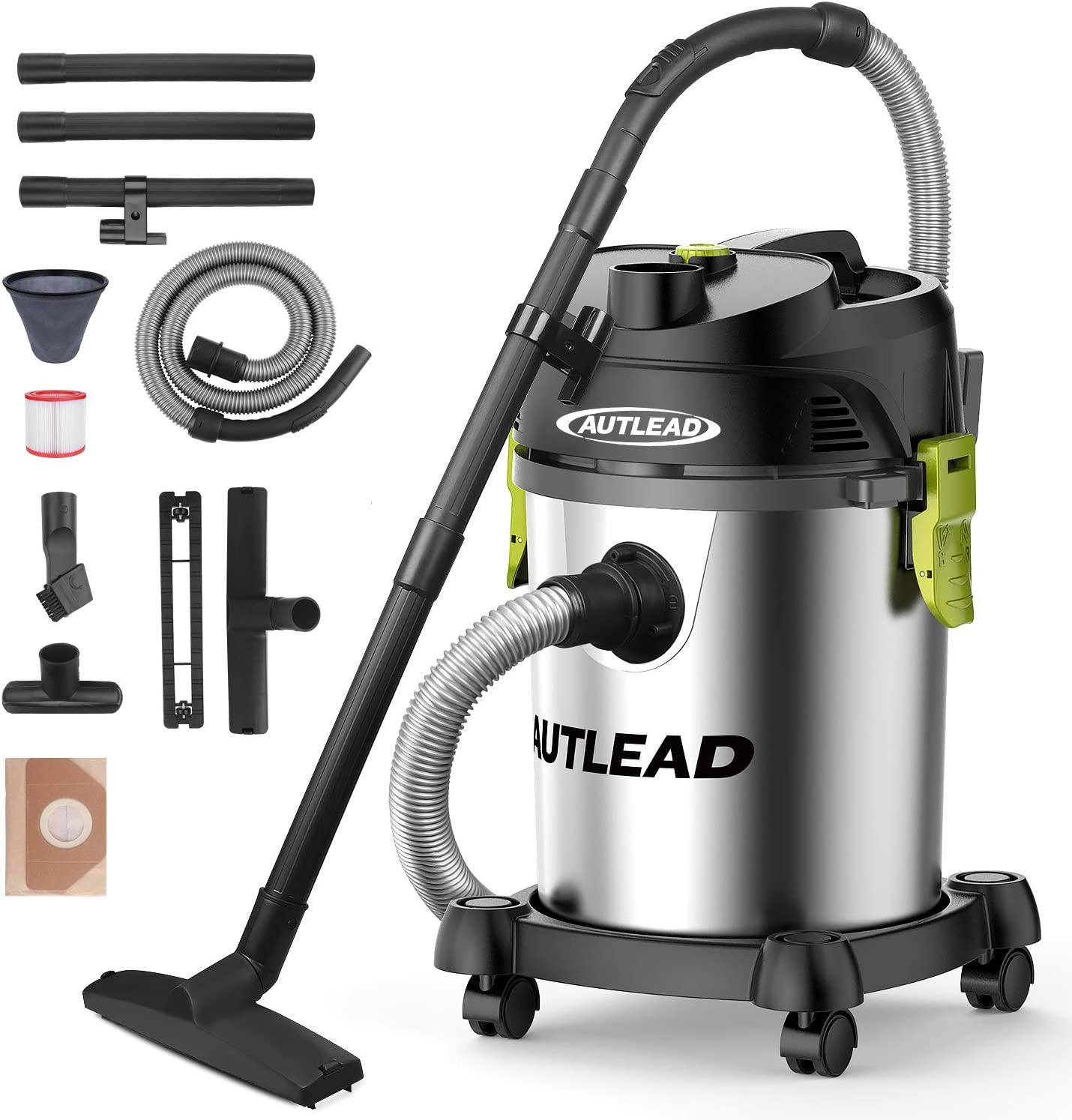 AUTLEAD Shop Vac 5.5 Gallon Steel Tank 5.5 Peak HP wet dry vacuum with Attachments, WDS03A