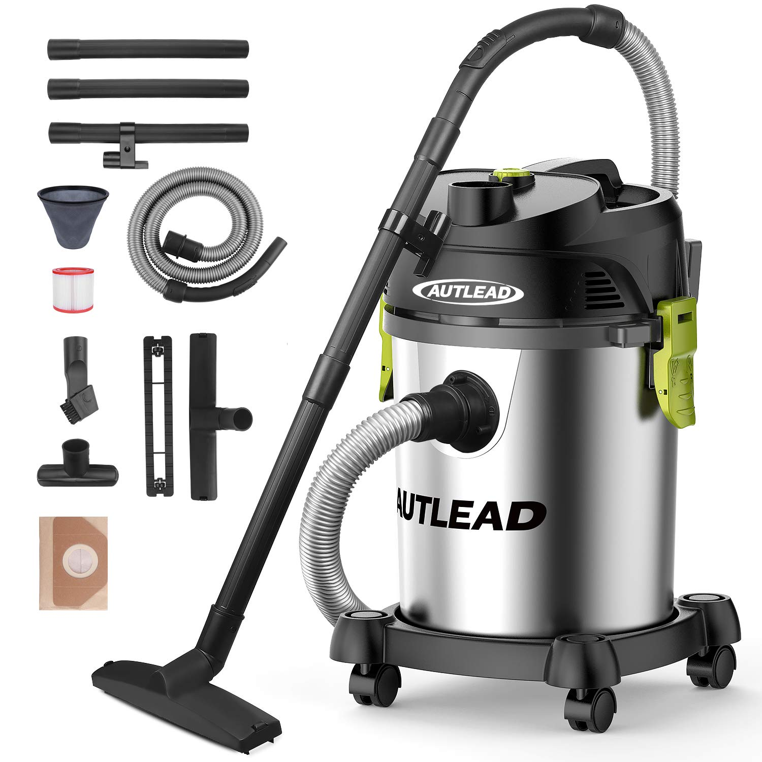 AUTLEAD Vacuum WDS03A 5 Gallon 1200W Pure Copper Motor 5.5 HP Wet/Dry/Blow 3 in 1 Shop Vac, Stable Round Bucket Design with Pulley System, HEPA Disposable Bag, 3 Brush Included, 5.5 gal, Black
