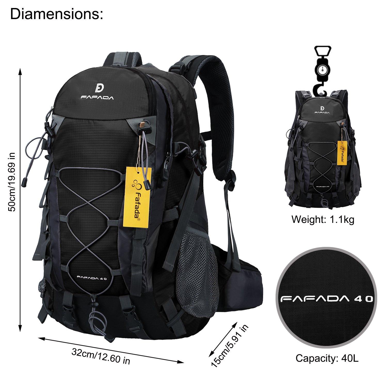 Fafada 40L Unisex Mochila de Senderismo Viaje Marcha del Deporte Casual Escalada Trekking con Cubierta de Lluvia Impermeable Negro: Amazon.es: Deportes y ...