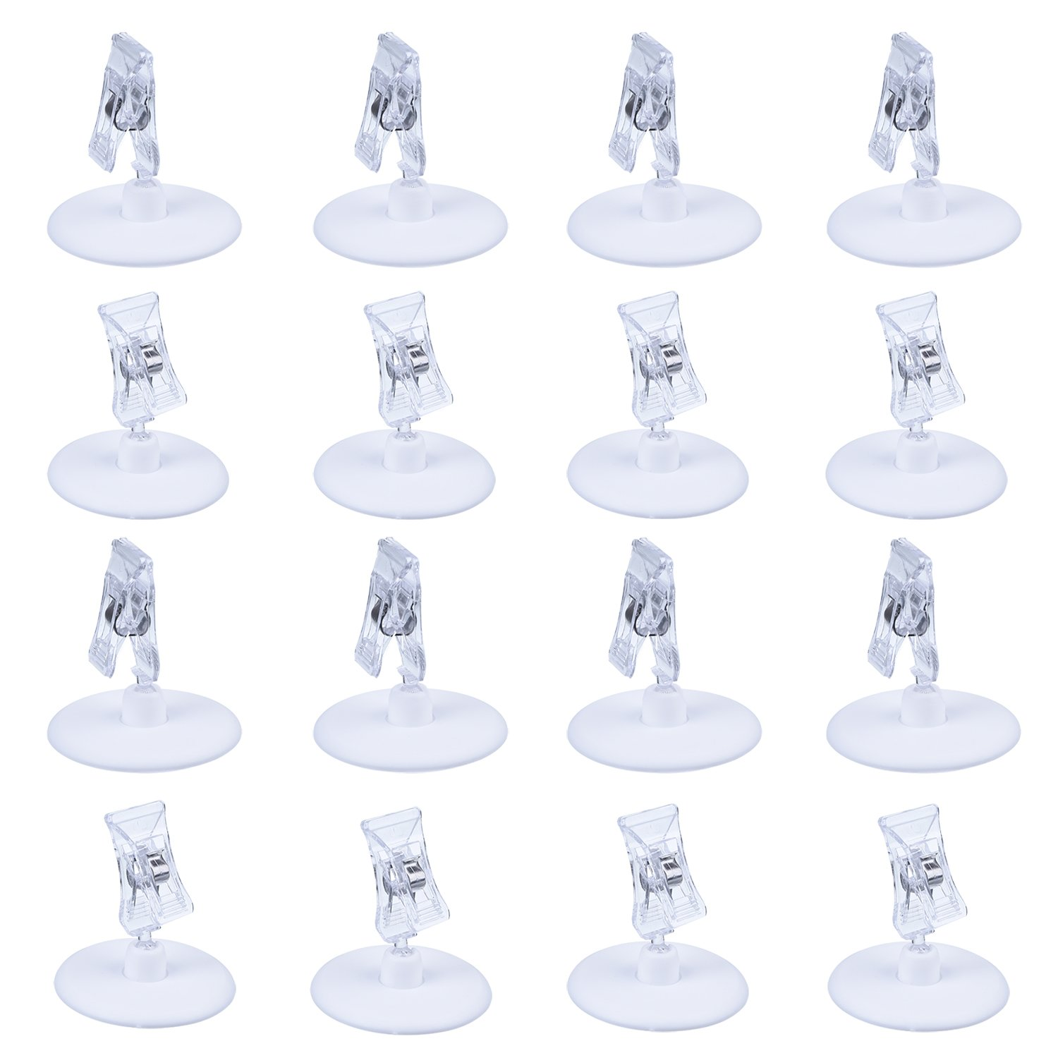 Plastic Rotatable Sign Clips 15 Pack Merchandise Sign Pop Clip Display Clip-on Sign Holder Stand Price Clear by Meiso