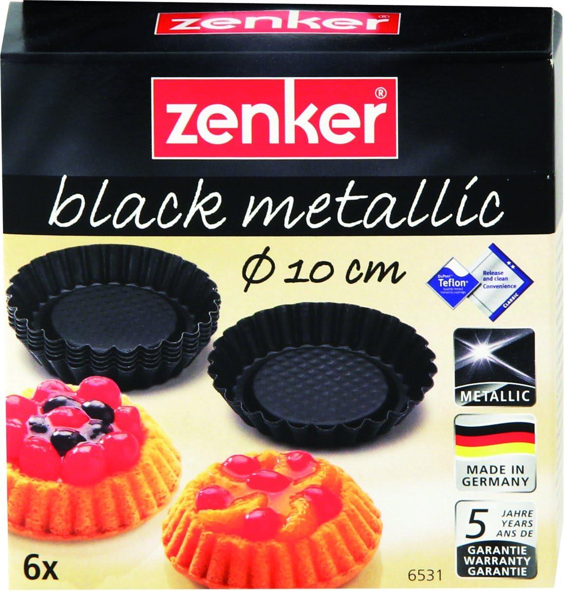 Zenker 6531 Mini Tart Pans (Set Of 6), Black/Metallic, 4.13