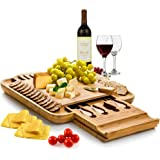 Bambusi Cheese Board and Knife Set - Premium Bamboo Wood Charcuterie Platter Serving Tray with Cutlery - Perfect for Housewar