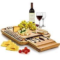 Bambusi Cheese Board and Knife Set - 100% Organic Bamboo Wood Charcuterie Platter...