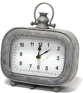 "Stratton Home Décor Stratton Home Decor Alexander Table Clock, 7.00"" W X 2.50"" D X 8.00"" H, Grey"