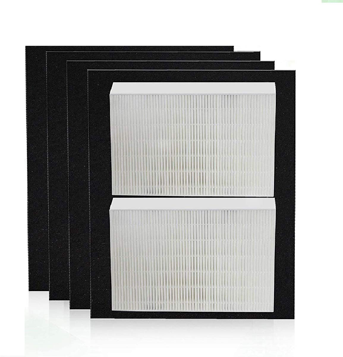JUNHUI Premium Quality Replacement Filters for Honeywell True HEPA HPA200 Air Purifier, 2 True HEPA Filters + 4 Activated Carbon Prefilters HW HRF-R2 HRF-AP1 HPA204 HPA250B Filter R