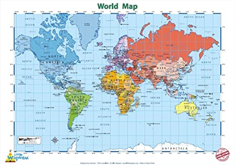 Amazon little wigwam world map chart no tear guarantee little wigwam world map chart quotno tear guaranteequot educational poster 60 gumiabroncs Image collections