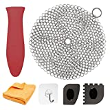 "Cast Iron Cleaner 7"" Circle Premium Stainless Steel Chainmail Scrubber Cast Iron Cleaning Kit Hot Handle Holder + Pan Scraper + Grill Scraper + Kitchen Towel"