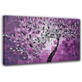 100% Hand-painted Best-selling Quality Goods Wood Framed on the Back Knife Painted Purple Bottom White Flowers High Q. Wall Decor Landscape Oil Painting on Canvas