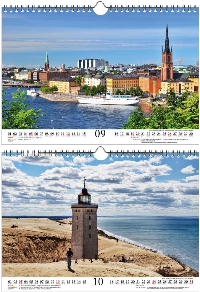 1 carte de v/œux et 1 carte de No/ël /Él/éphant magique Calendrier de voyage magique des pays nordiques DIN A4 pour 2021 Ville et pays du Nord Coffret cadeau