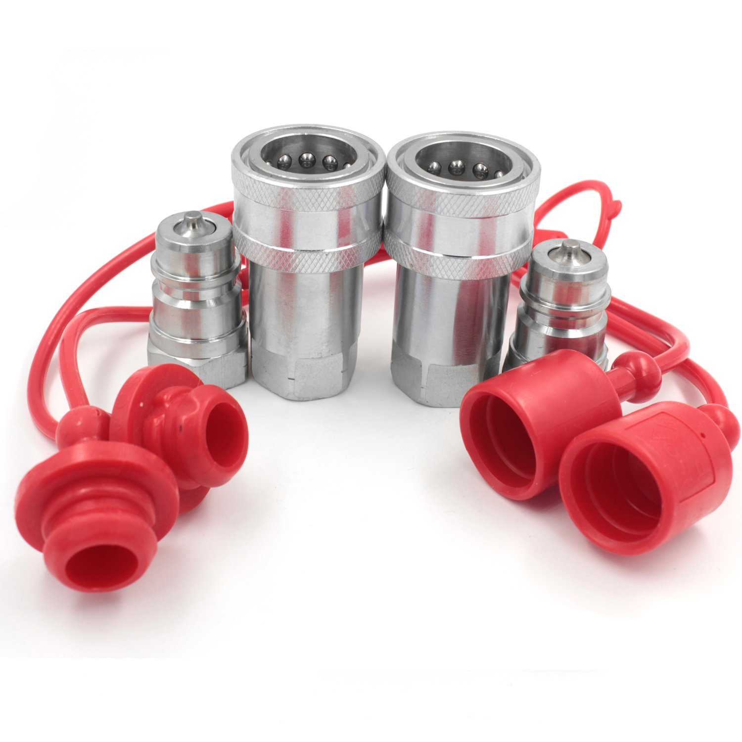 2 sets ISO7241-A 1/2 hydraulic Quick Couplings Ball Fitting with Dust Caps Gute