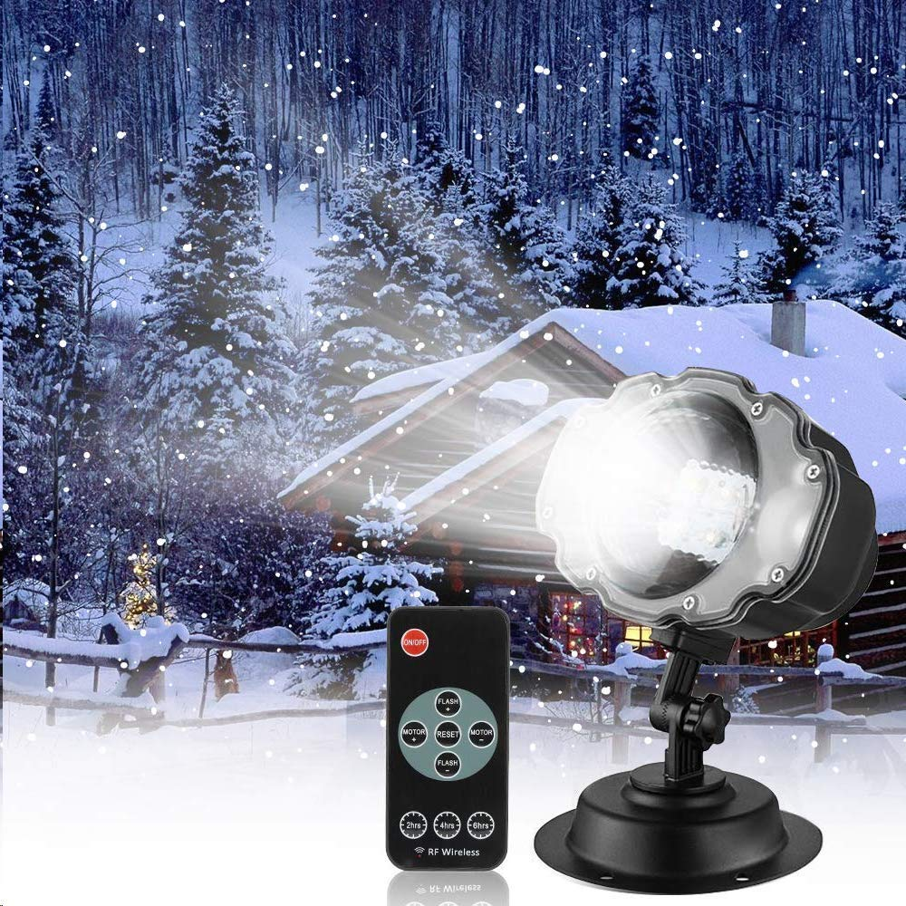 Snowfall LED Light Projector,Sanwsmo Christmas Snow Light,Snow Falling Projector Lamp Dynamic Snow Effect Spotlight for Garden Ballroom, Party,Halloween,Holiday Landscape Decorative(Waterproof Remote) by Sanwsmo