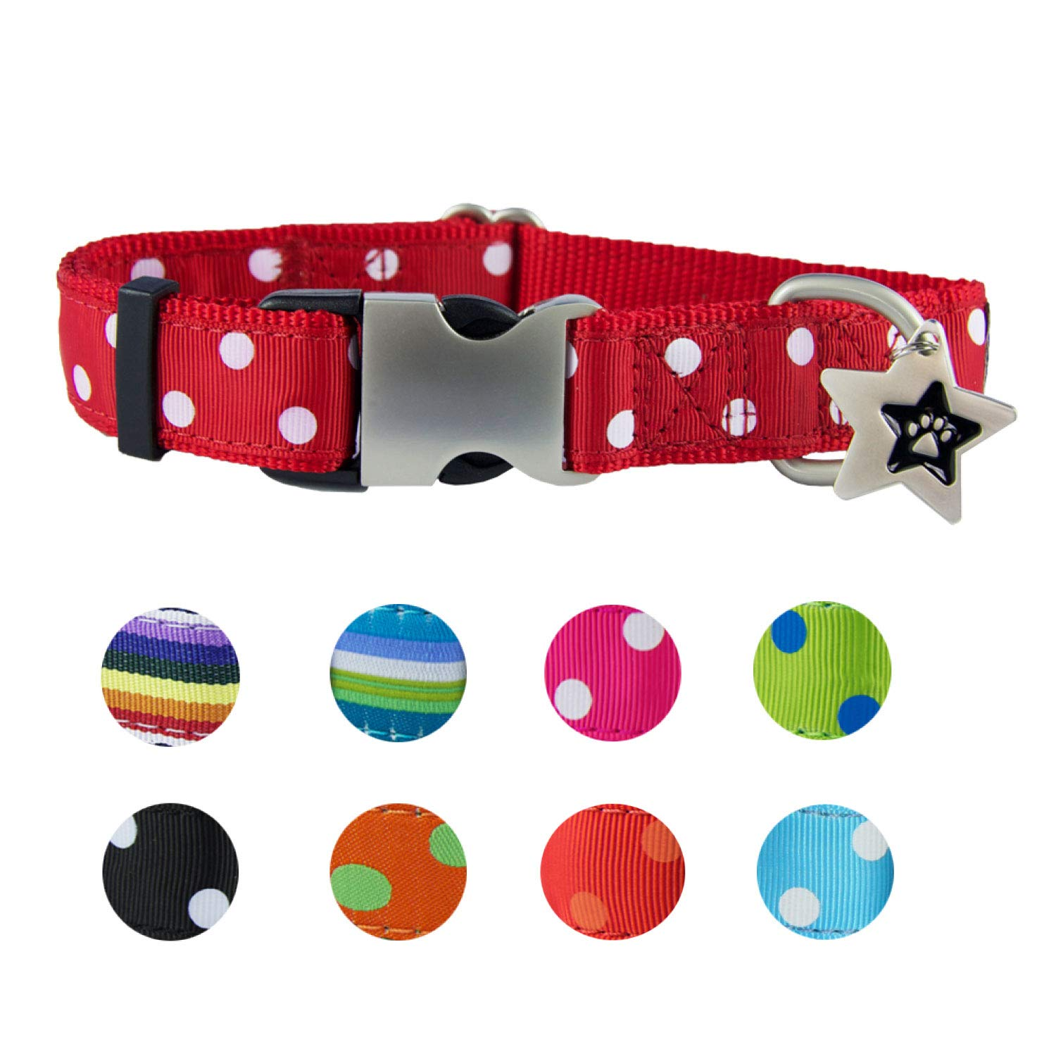Max Cute Dog Collars for Small Dogs   Small Dog Collar Pink, Red, Spots for Female & Male   Soft Nylon Dog Ribbon Collar Metal Buckle Adjustable Size Free Star Dog ID Tag   Paw Dog Collar (Max)