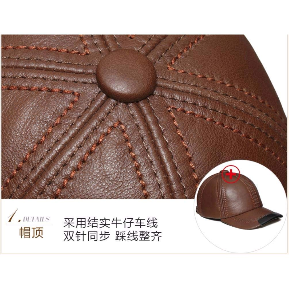 Thundertechs Man Woman Autumn and Winter Leather hat Baseball Cap Outdoor Warm hat Cap (Color : Red-Brown, Size : 22.04-23.62inch) by Thundertechs (Image #3)