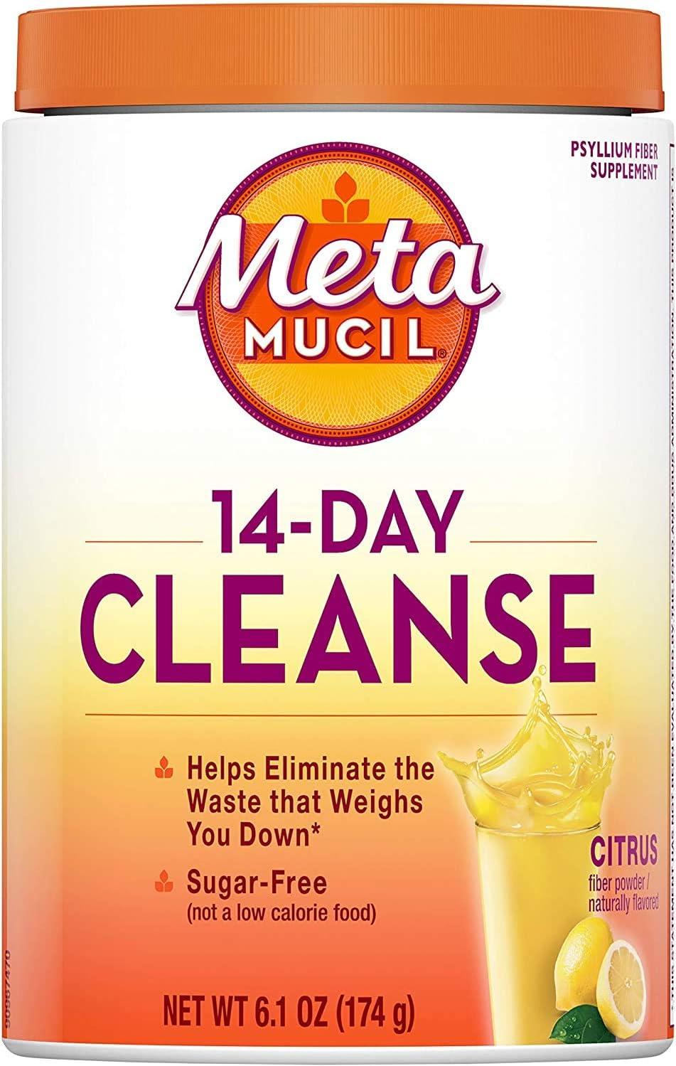 Amazon Com Metamucil 14 Day Cleanse Fiber Eliminate Waste 30 Servings Psyllium Husk Fiber Supplement Sugar Free Powder Citrus Flavored Drink Health Personal Care