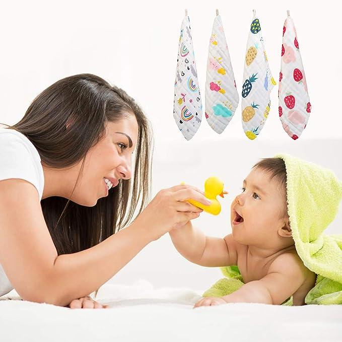 LinStyle Toalla Facial Infantil, 10 Piezas Reutilizable Algodón Dibujos Animados Gasa Pañuelo Bebe Accesorio Para Niños, 30 x 30 CM