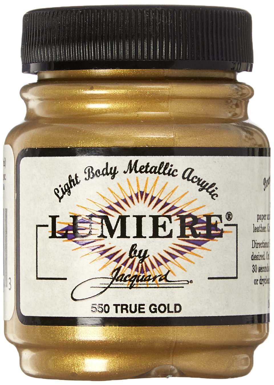Jacquard Products 2.25 oz Lumiere Metallic Acrylic Paint, True Gold 442392