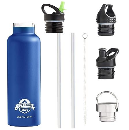 OUTDOOR DEPT Botella Agua Acero Inoxidable Térmica Doble Pared con Aislamiento al Vacío sin BPA - 4 Tapas a Prueba de Fugas para Deportes Ejercicio ...