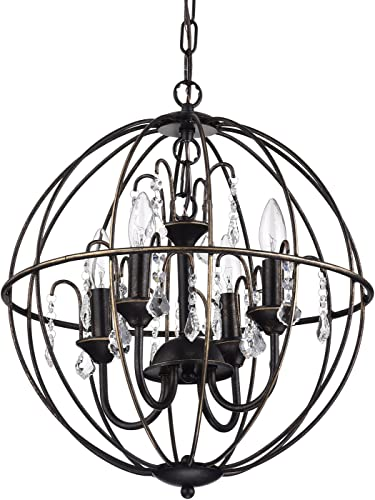 Edvivi Dover 4-Light Antique Bronze Globe Sphere Orb Cage Chandelier