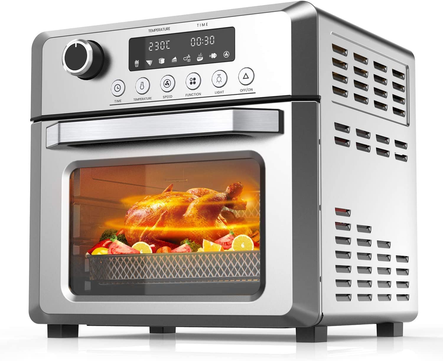 KBS 1500W Toaster Oven Air Fryer Combo, 7-in-1 Convection Oven with Air Fry, Bake, Broil, Toast, Dehydrate, Pizza, Warm Function, 19Qt Countertop Oven with Timer, Temperature Control, 6 Accessories