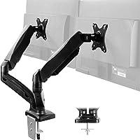 Soporte de escritorio para monitor de doble brazo ajustable en altura de VIVO, inclinación, giro, soporte neumático de…