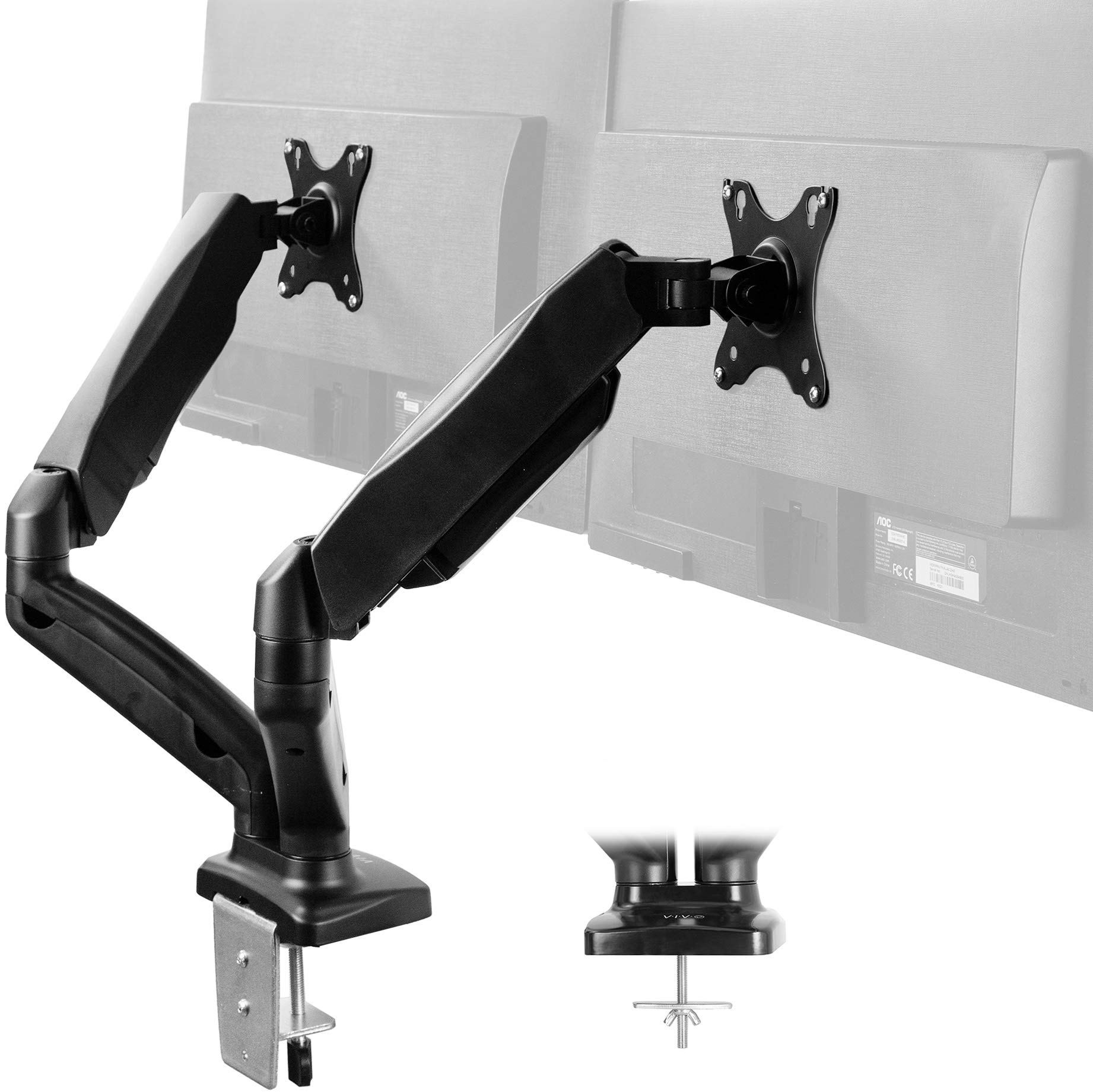 VIVO Dual Arm Monitor Desk Mount Height Adjustable, Tilt, Swivel, Counterbalance Pneumatic Stand | VESA Bracket Arm Fits Most Screens up to 27 inches (STAND-V002O) by VIVO