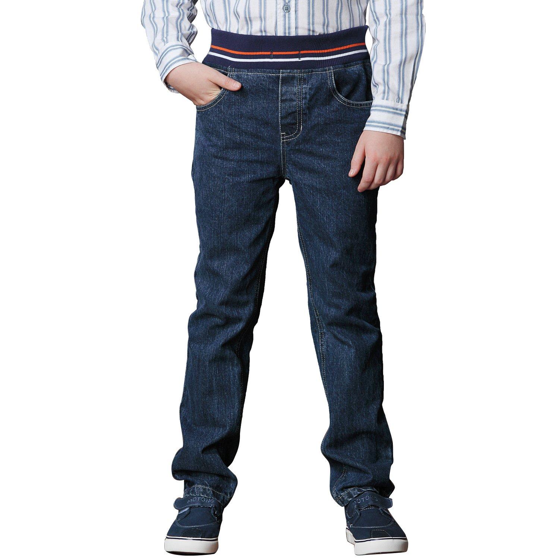 Leo&Lily Big Boys Kids Husky Rib Waist Heavy Denim Jeans Pants (8, Navy)