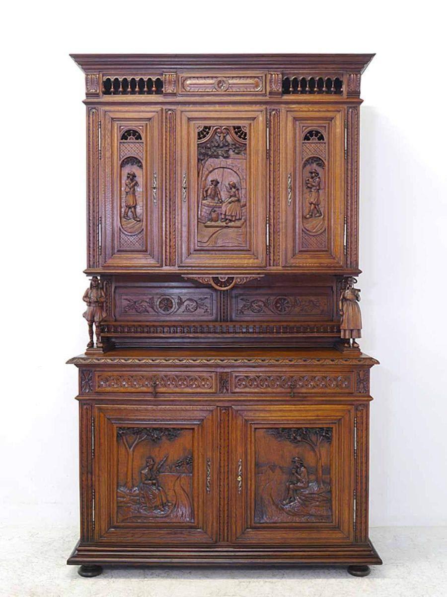 Buffet Schrank Küchenschrank Antik um 1880 bretonisch aus Eiche B ...