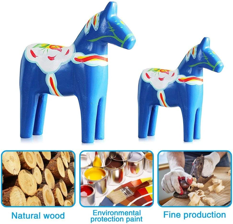 Yundxi Set of 2 Dala Horse Swedish Dala Horse Statue Wooden Horse Figurine Statue House Decoration