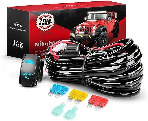 Nilight 10014W LED Light Bar Wiring Harness Kit 14AWG Heavy Duty 12V 5Pin Rocker Laser On Off Waterproof Switch Power Relay Blade Fuse-1 Lead