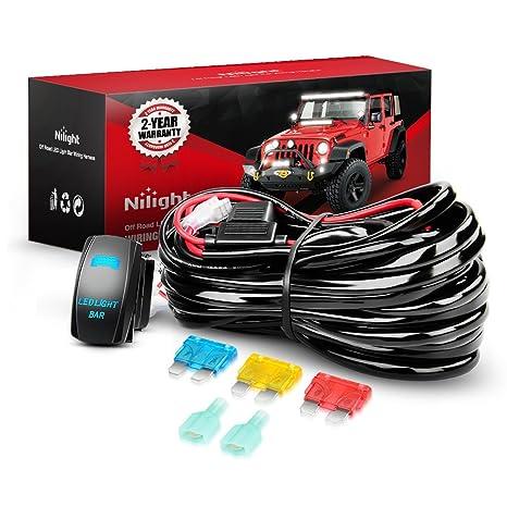 Nilight 10014W LED Light Bar Wiring Harness Kit 14AWG Heavy Duty 12V on