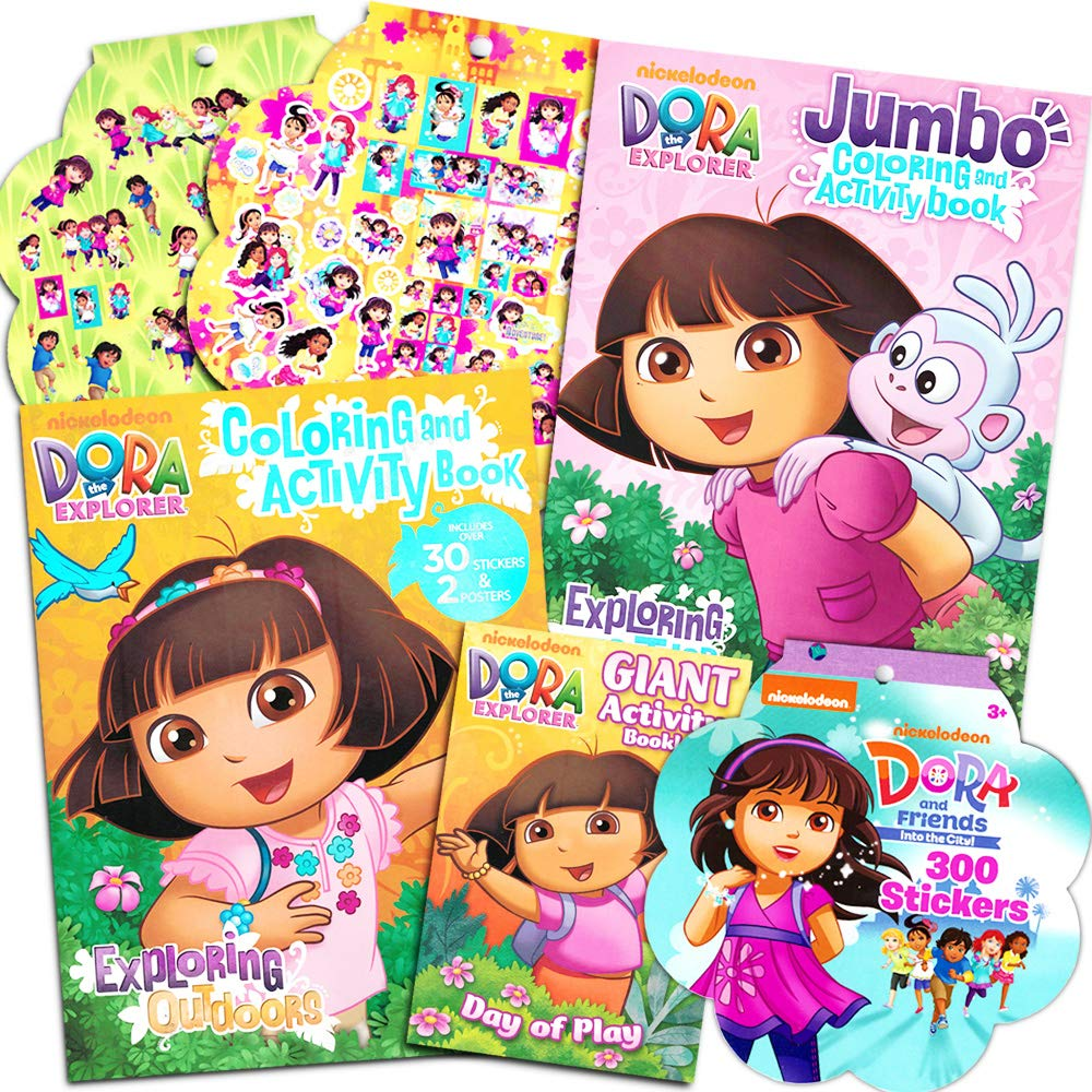 Dora The Explorer Coloring Book Super Set 3 Dora Coloring Books With Bonus Sticker Bundle Dora And Friends Party Supplies