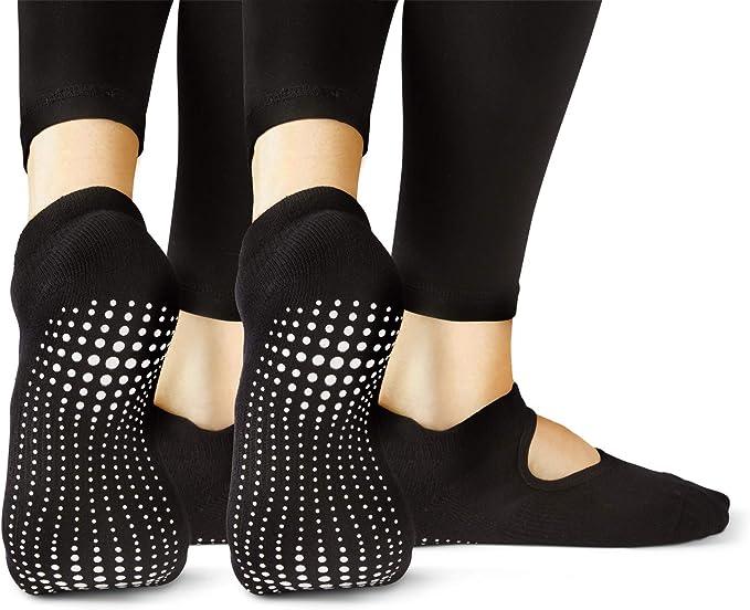TALLA 37-40. LA Active Calcetines Antideslizantes - Para Yoga Pilates Ballet Barre Mujer Hombre - Ballet