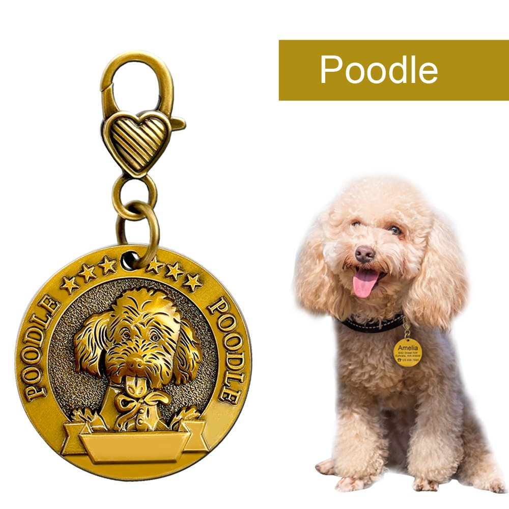 Etiquetas de Memoria Personalizadas para Perros Peque/ños medianos y Grandes Didog Etiquetas de Identificaci/ón para Perros Personalizadas con 18 Razas Efecto 3D