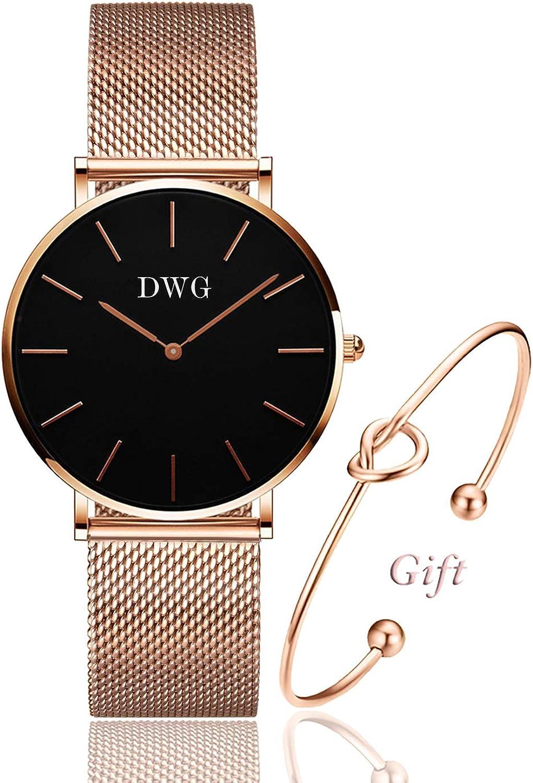 DWG - Reloj de Pulsera para Mujer, Cuarzo, analógico, Correa de Malla de Acero Inoxidable, Estilo Casual, de Moda