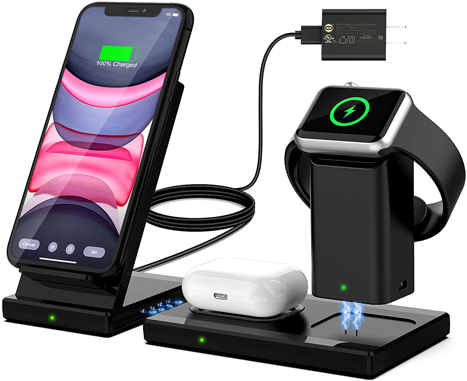 Wireless Charger, WisFox 3 in 1 Wireless Charging Station for Apple Watch & Airpods, Detachable and Magnetic Wireless Charging Stand Dock for iPhone 12/11/11 Pro Max/X/XS/XR/Xs Max/8/8 Plus(Black)