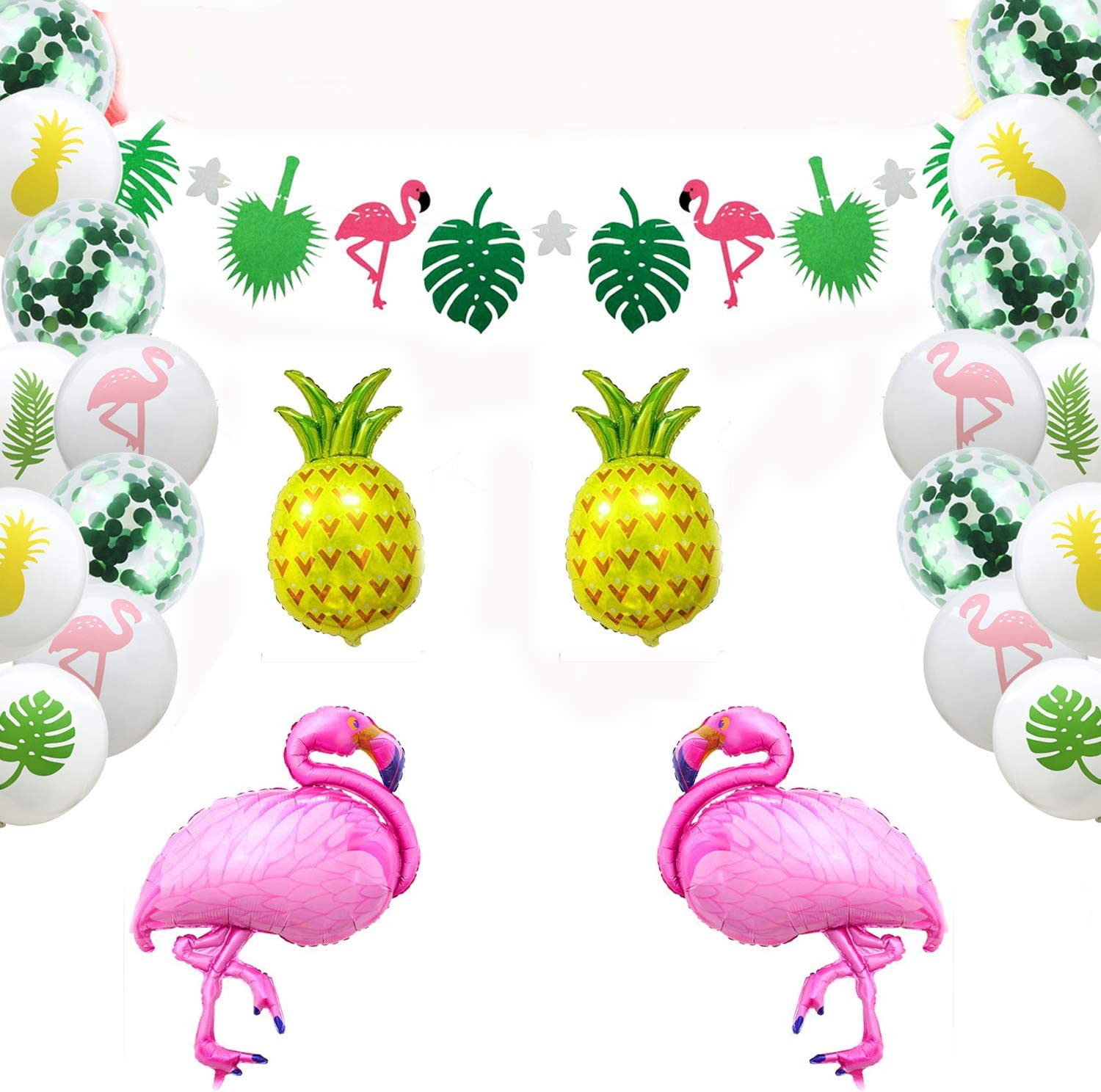 Hawaiian Tropical Decoration, 45PC Beach Party Supplies with Colourful Pineapple Flamingo Balloons Palm Simulation Leaves Banner for Luau Party Jungle Summer Table Decorations