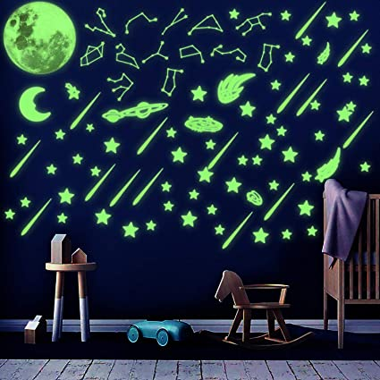 Glow In Dark Wall Stickers Fluorescent Stars Moon Pack Of 24